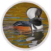 Round Beach Towel featuring the photograph Male Hooded Merganser Duck by Susan Candelario
