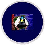 Round Beach Towel featuring the mixed media Male Mallard by Charles Shoup
