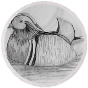 Male Mandrain Duck  Round Beach Towel