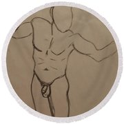 Male Nude Drawing 2 Round Beach Towel