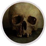 Male Skull In Retro Style Round Beach Towel