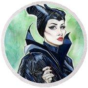 Maleficent Round Beach Towel by Jimmy Adams