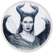 Maleficent Watercolor Portrait Round Beach Towel