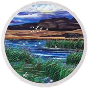 Malhuer Bird Refuge Round Beach Towel