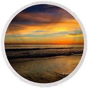 Malibu Beach Sunset Round Beach Towel by Chris Tarpening