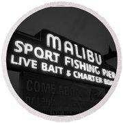 Malibu Pier Sign In Bw Round Beach Towel