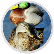 Mallard Couple Round Beach Towel