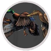 Mallard Ducks In Flight Round Beach Towel