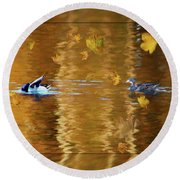 Mallard Ducks On Magnolia Pond - Painted Round Beach Towel