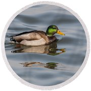 Mallards And Reflection Round Beach Towel