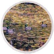 Mallards On Autumn Pond Round Beach Towel