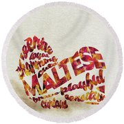 Round Beach Towel featuring the painting Maltese Dog Watercolor Painting / Typographic Art by Ayse and Deniz