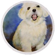 Maltese Named Ben Round Beach Towel by Marilyn Jacobson