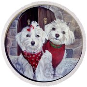 Maltese Pair Round Beach Towel