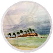 Round Beach Towel featuring the painting Malya Jamaica by Nicolas Bouteneff