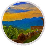 Blue Ridge Sunset From Mama Gertie's Hideaway Round Beach Towel