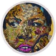 Round Beach Towel featuring the tapestry - textile Mama's Watching by Apanaki Temitayo M
