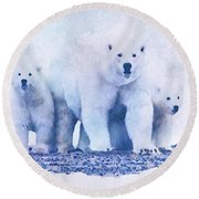 Mamma Bear  Round Beach Towel