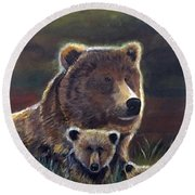 Round Beach Towel featuring the painting Mammas Warmth by Leslie Allen