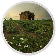 Round Beach Towel featuring the photograph Mammatus And Flowers  by Aaron J Groen