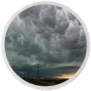 Mammatus Over Montata Round Beach Towel by Ryan Crouse