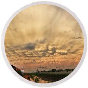 Mammatus Over Yorkton Sk Round Beach Towel