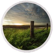Round Beach Towel featuring the photograph Mammatus Sunset by Aaron J Groen