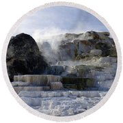 Mammoth Hot Springs Terraces Round Beach Towel