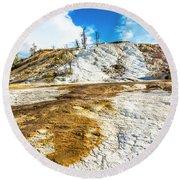 Mammoth Hot Springs Yellowstone Round Beach Towel