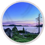 Man And Dog Round Beach Towel