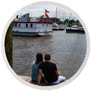 Man And Woman Sitting On Dock Round Beach Towel