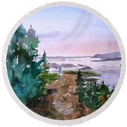 Man At Fraser Lake Bc Round Beach Towel