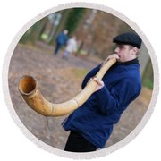 Man Blowing Horn Round Beach Towel