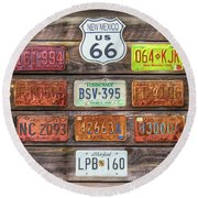Man Cave License Plates Round Beach Towel by Marion Johnson