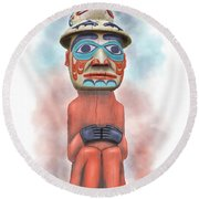 Man From Bear Clan Round Beach Towel