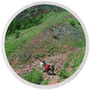 Man Hiking With Llama High Alpine Mountain Trail Round Beach Towel by Jerry Voss