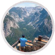 Round Beach Towel featuring the photograph Man In Awe- by JD Mims