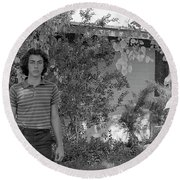 Man In Front Of Cinder-block Home, 1973 Round Beach Towel