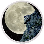Man In The Moon Meets Old Man Of The Mountain Vertical Round Beach Towel by Larry Landolfi