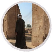 Round Beach Towel featuring the photograph Man In The Temple by Silvia Bruno