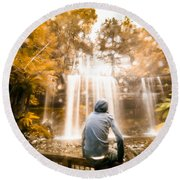 Round Beach Towel featuring the photograph Man Looking At Waterfall by Jorgo Photography - Wall Art Gallery