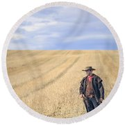 Man Of The West Round Beach Towel