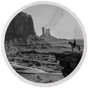Man On Horse Monument Valley Round Beach Towel