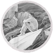 Round Beach Towel featuring the mixed media Man On The Rocks II by Elizabeth Lock