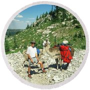 Man Posing With His Llama High Mountain Pass Round Beach Towel