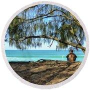 Man Relaxing At The Beach Round Beach Towel