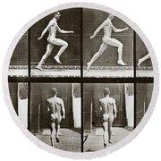 Man Running, Plate 65 From Animal Locomotion, 1887 Round Beach Towel