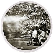 Round Beach Towel featuring the painting Man Strollers In The Park by Odon Czintos