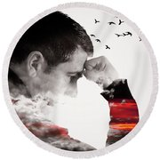 Man Thinking Double Exposure With Birds Round Beach Towel