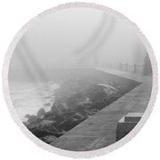 Man Waiting In Fog Round Beach Towel